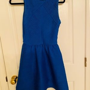 Topshop Pleated Blue Textured Dress